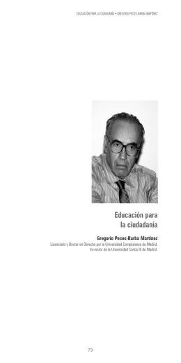 Educación para la ciudadanía. D. Gregorio Peces