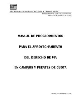 Manual de procedimientos para el aprovechamiento del derecho de