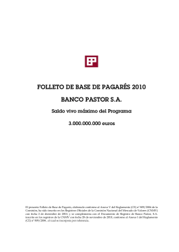 FOLLETO DE BASE DE PAGARÉS 2010 BANCO PASTOR S.A.