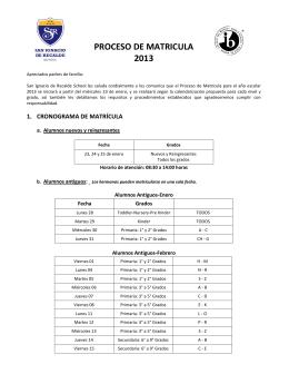 PROCESO DE MATRICULA 2013