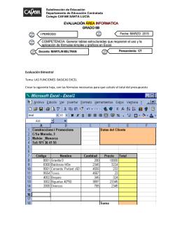 Evaluación Bimestral Tema: LAS FUNCIONES BASICAS EXCEL