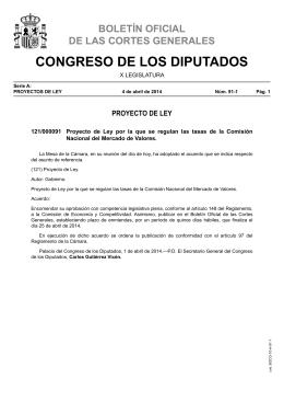 Proyecto de Ley por la que se regulan las tasas de la Comisión