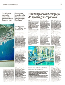 El Peñón planea un complejo de lujo en aguas españolas