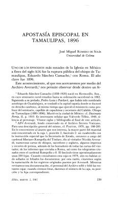 APOSTASÍA EPISCOPAL EN TAMAULIPAS, 1896