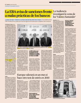 La EBA avisa de sanciones frente a malas prácticas de los