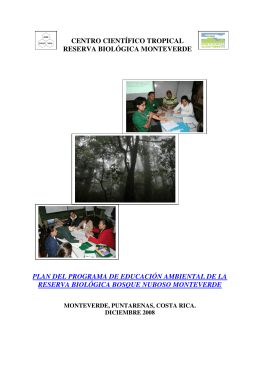 Plan program EA diciembre 2008 - Monteverde Cloud Forest Reserve