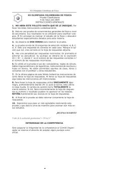 XX Olimpiada Colombiana de Física. Prueba Clasificatoria 2004.