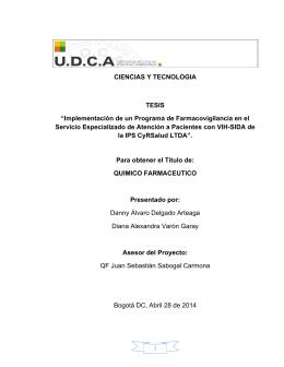 """CIENCIAS Y TECNOLOGIA TESIS """"Implementación de un Programa"""