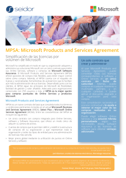 MPSA: Microsoft Products and Services Agreement