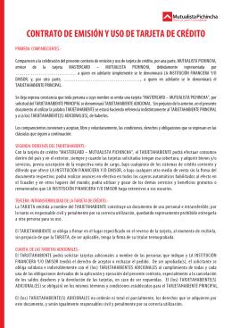 MODELO DE CONTRATO DE TARJETA DE CRÉDITO 2014 (1