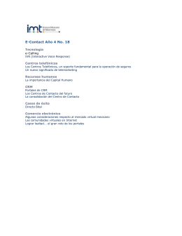 E-Contact Año 4 No. 18 - Instituto Méxicano de Telemarketing