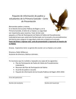 Paquete de información de padres y estudiantes de la Primaria