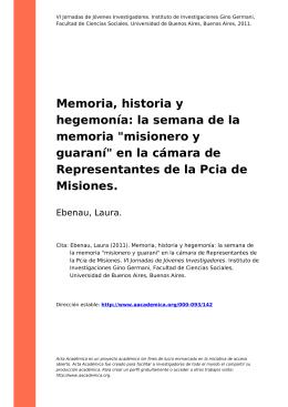 """la semana de la memoria """"misionero y guaraní"""