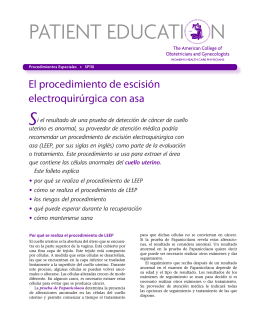 Patient Education Pamphlet, SP110, El procedimiento de escisión