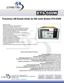 Transmisor AM Estado Solido de 500 watts Modelo ETS-500W