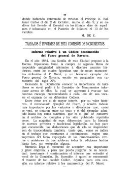 informe relativo a un códice desconocido del fuero general de navarra
