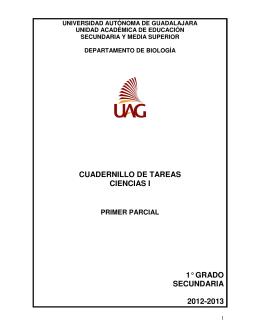 Tareas (primer parcial) - Universidad Autónoma de Guadalajara