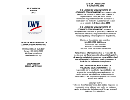 ASUNTOS DE LA BALOTA 2012 LEAGUE OF WOMEN VOTERS OF
