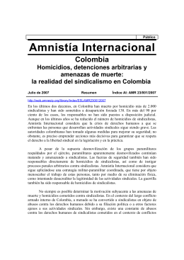 Amnistía Internacional - red alerta sindical colombia