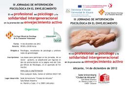 El rol profesional del psicólogo y la solidaridad intergeneracional El