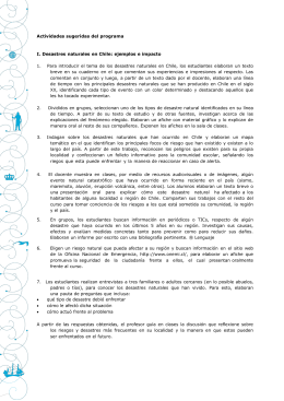 Actividades sugeridas del programa I. Desastres naturales en Chile