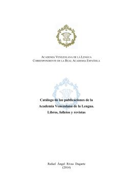 Catálogo de las publicaciones de la AVL (2014).Rivas Dugarte
