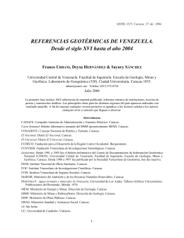 REFERENCIAS GEOTÉRMICAS DE VENEZUELA. Desde el