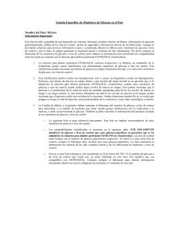Listado Especifico de Monitores de Glucosa en el País Nombre del