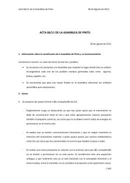 Acta de la Asamblea celebrada el 06 de agosto de 2011