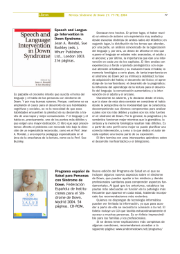 Libros Speech and Langua- ge Intervention in Down Syndrome