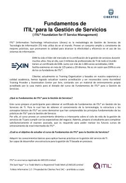 Fundamentos de ITIL® para la Gestión de Servicios