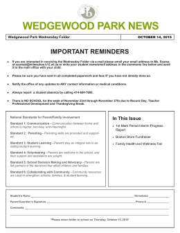 WEDGEWOOD PARK NEWS In This Issue