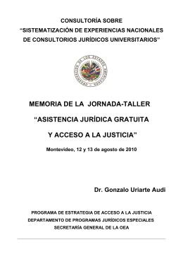 """MEMORIA DE LA JORNADA-TALLER """"ASISTENCIA JURÍDICA"""