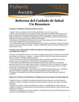 Reforma del Cuidado de Salud Un Resumen