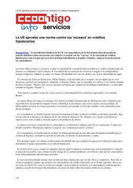 La UE aprueba una norma contra los `excesos` en créditos