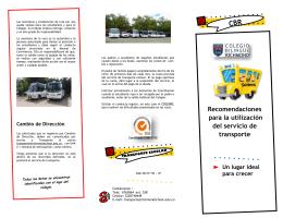 Recomendaciones para la utilización del servicio de transporte