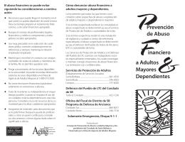PPrevención de Abuso Financiero a Adultos Mayores & Dependientes