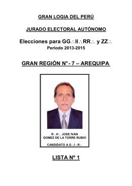 CANDIDATO DE LA REGION Nº 7 AREQUIPA