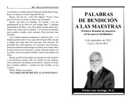 PALABRAS DE BENDICIÓN A LAS MAESTRAS