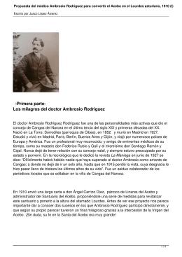 Propuesta del médico Ambrosio Rodríguez para convertir