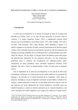 1. Introducción La entrevista sociolingüística es un método de