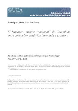 "El bambuco, música ""nacional"" de Colombia"