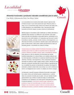 Alimentos funcionales y productos naturales canadienses para la