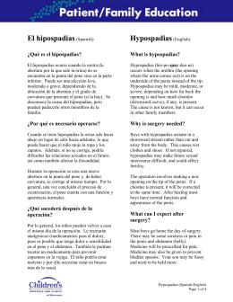 Hypospadias (Spanish) - Children`s Hospitals and Clinics of