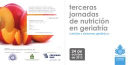 HSJD FOLLETO TERCERAS JORNADAS DE NUTRICION EN