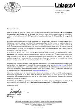 la carta de invitación a la Conferencia