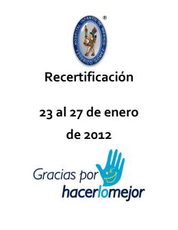 Recertificación 23 al 27 de enero de 2012