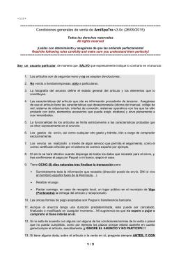 Condiciones generales de venta de AmiSpaTra