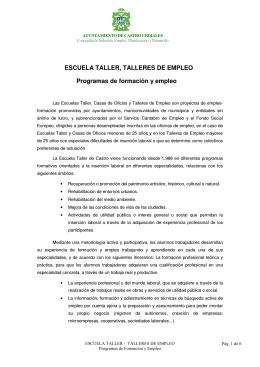 ESCUELA TALLER, TALLERES DE EMPLEO Programas de