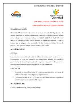 instituto municipal de la juventud programa general de capacitación
